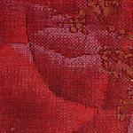 色大島 深紅地薔薇模様振袖
